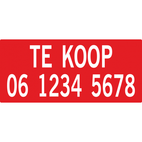 Te koop stickers met telefoonnummer