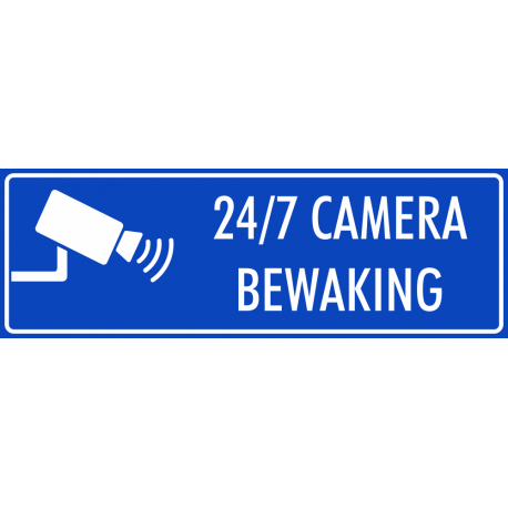 Camera bewaking 24/7 stickers (blauw)