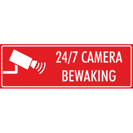 Camera bewaking 24/7 bordjes (rood)