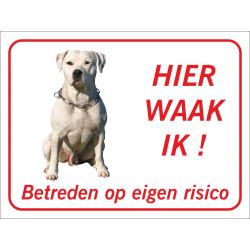 Argentijnse dog 'Hier waak ik'-bordje (rood)