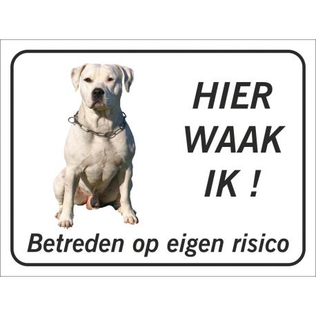 Argentijnse dog 'Hier waak ik'-bordje (zwart)