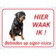 Rottweiler 'Hier waak ik'-bordje (rood)