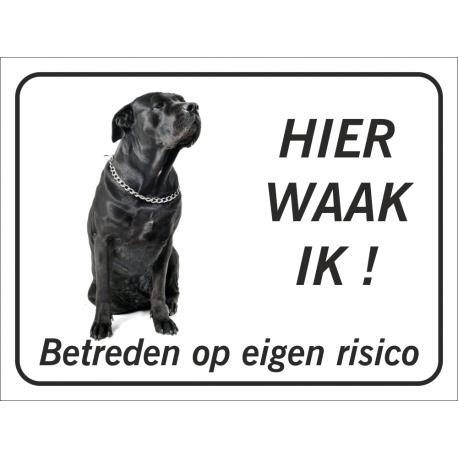 Zwarte Bullmastiff 'Hier waak ik'-bordje (zwart)