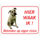 Anatolische Herdershond 'Hier waak ik'-bordje (rood)