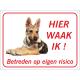 Saarloos Wolfhond (puppy) 'Hier waak ik'-bordje (rood)
