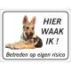 Saarloos Wolfhond (puppy) 'Hier waak ik'-bordje (zwart)