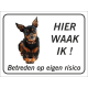 Dwergpinscher  'Hier waak ik'-stickers (zwart)