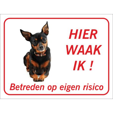 Dwergpinscher 'Hier waak ik'-stickers (rood)