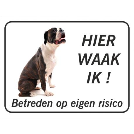 Boxer  'Hier waak ik'-stickers (zwart)