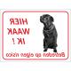 Zwarte Bullmastiff 'Hier waak ik'-stickers (rood)