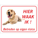 Labrador 'Hier waak ik'-stickers (rood)