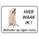 Golden Retriever 'Hier waak ik'-stickers (zwart)