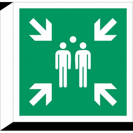 Verzamelplaats bij evacuatie bordjes (haaks model)