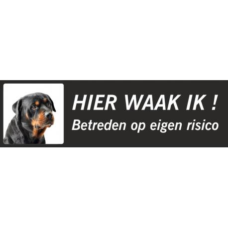 Rottweiler 'Hier waak ik'-stickers (zwart, laag model)