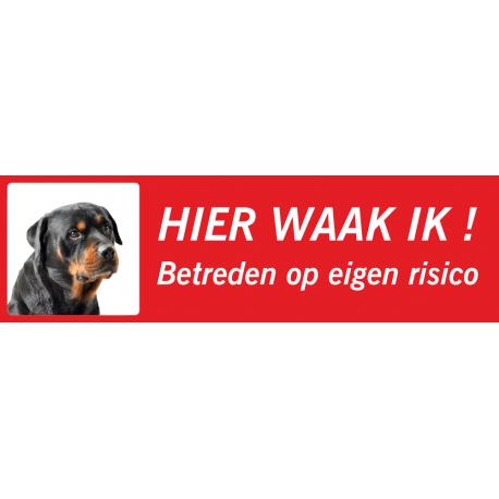 Rottweiler 'Hier waak ik'-stickers (rood, laag model)