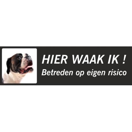 Boxer 'Hier waak ik'-stickers (zwart, laag model)