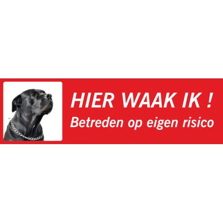 Zwarte Bullmastiff 'Hier waak ik'-stickers (rood, laag model)