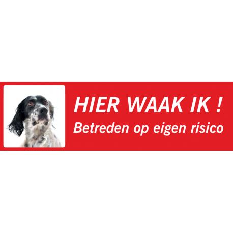 Engelse Setter 'Hier waak ik'-stickers (rood, laag model)
