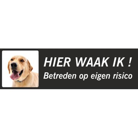 Labrador 'Hier waak ik'-stickers (zwart, laag model)