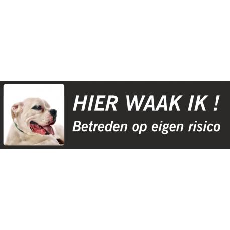 Argentijnse Dog 'Hier waak ik'-stickers (zwart, laag model)