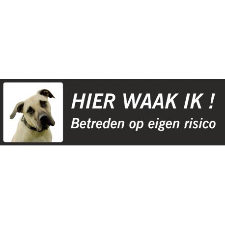 Anatolische Herdershond 'Hier waak ik'-stickers (zwart, laag model)
