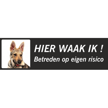 Saarloos Wolfhond 'Hier waak ik'-stickers (zwart, laag model)