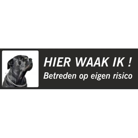 Zwarte Bullmastiff 'Hier waak ik'-bordje (zwart, laag model)
