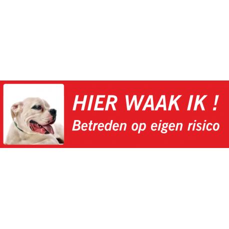 Argentijnse Dog 'Hier waak ik'-bordje (rood, laag model)