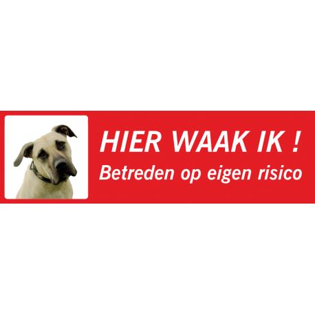 Anatolische Herdershond 'Hier waak ik'-bordje (rood, laag model)