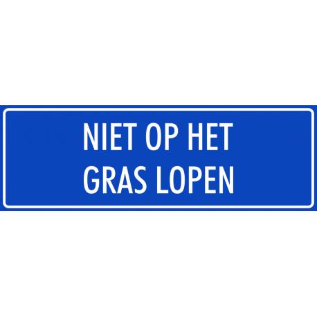 'Niet op het gras lopen' bordjes (blauw)