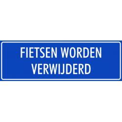 'Fietsen worden verwijderd' bordjes (blauw)