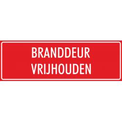 'Branddeur vrijhouden' stickers (rood)