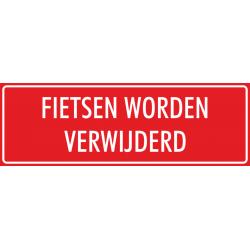 'Fietsen worden verwijderd' stickers (rood)