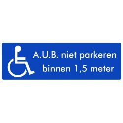 Rolstoel stickers (niet parkeren binnen 1,5 meter)