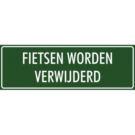 'Fietsen worden verwijderd' stickers (groen)