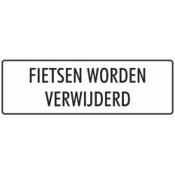 'Fietsen worden verwijderd' stickers (wit)