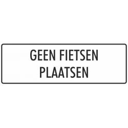 'Geen fietsen plaatsen' stickers (wit)