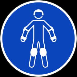 Draag beschermende rollersportuitrusting stickers