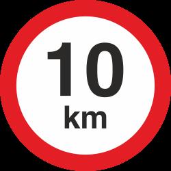 snelheidssticker 10 km (rood met km aanduiding)