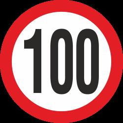 snelheidssticker 100 km (rood)