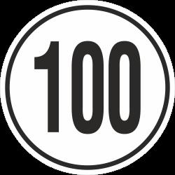 snelheidssticker 100 km (wit)