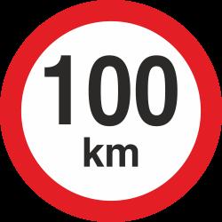 snelheidssticker 100 km (rood met km aanduiding)