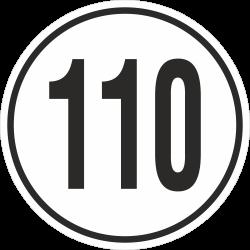 snelheidssticker 110 km (wit)