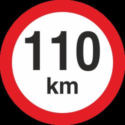 snelheidssticker 110 km (rood met km aanduiding)