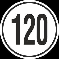 snelheidssticker 120 km (wit)