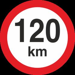 snelheidssticker 120 km (rood met km aanduiding)