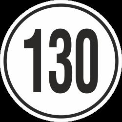 snelheidssticker 130 km (wit)
