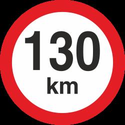snelheidssticker 130 km (rood met km aanduiding)