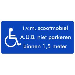 Rolstoel stickers (i.v.m scootmobiel, niet parkeren binnen 1,5 meter)