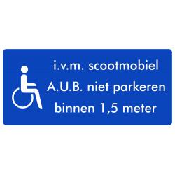 Rolstoel stickers (i.v.m scootmobiel, niet parkeren binnen 1,5 meter)(ronde uitvoering)
